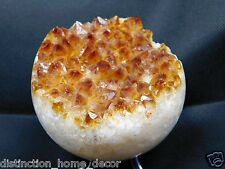 SPH1) Large Citrine Orange Crystal Ball Sphere Geode Brazil Rock Great Gift 3.5""