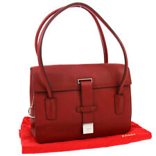 Authentic BALLY Logos Shoulder Bag Purse Red Silver Leather Vintage Italy V08911