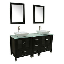 "60"" Double Bathroom Cabinet Vanity Set Hardwares Included"
