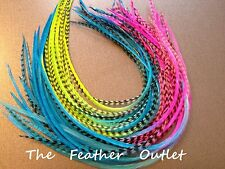 Lot 10 Grizzly Feathers Hair Extensions long thin striped Real Blue Neon Tie Dye