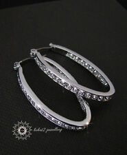 Oval Hoop Earring with Crystal/Swarovski Elements/Rose gold/White gold/RGE261