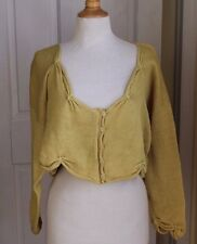 Krista Larson Hand-Made Art Pistachio Funky Boho Cropped Cardigan Sweater