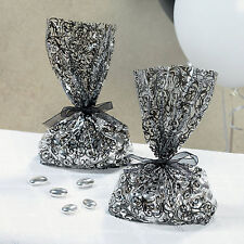 120 Black White Damask Swirl Wedding Candy Buffet Cello Favor Bags/Boxes