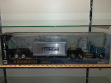 1/32 NEW RAY KENWORTH W900 SEMI LOWBOY WITH BOX TRAILER CARGO BLUE