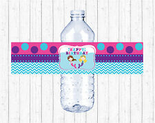 Mermaid Birthday Pool Party Printable Water Bottle Labels