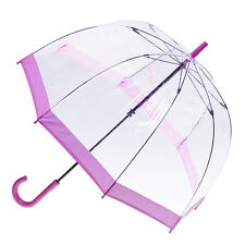 Clear Dome Birdcage Umbrella with Pink Trim