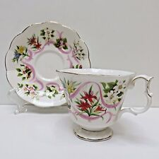 Royal Albert Chine TEACUP & SAUCER England Pink Ribbons/Flowers CANADA