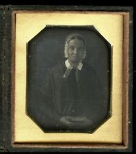 1840's Daguerreotype Older Woman with Bonnet Holding Book, Cased 3x2 1/2""