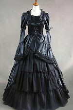 Black Satin Removable Sleeves Lace Bow dress cosplay Victorian Costume