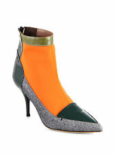 Tabitha Simmons Multicolor Alana Mixed Media Ankle Boots Sz 37 NWOT $1,275 Green