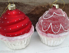 "Set of 2 JUMBO 3""  Glass RED Cupcake Swirl Holiday Christmas Birthday Ornaments"