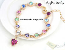 NEW Made with Swarovski Heart Multi Color Crystal 18K Gold Plated Bracelet
