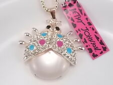 Betsey Johnson Fashion Cute inlay Crystal Opal Ladybug Pendant Necklace # A140