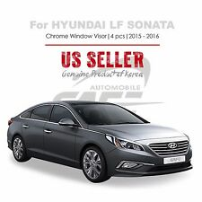 Chrome Window Vent Visors Rain Guard Tape On For Hyundai  Sonata 2015-17 NEW