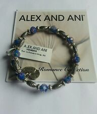 Alex and Ani ROAD to ROMANCE Wrap Bangle Bracelet BOX Blue & Silver Beads NWT