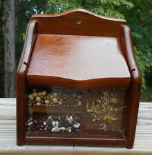 Vintage Wood Hanging Wall/Counter Top Shadow Box Recipe File Holder Box UNIQUE