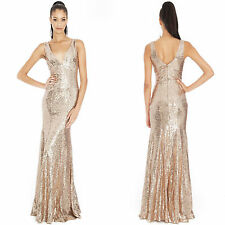 Ladies Long Sequin Evening Maxi Dress Ball Gown Prom Party Women's UK Sizes 8-14