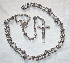VINTAGE Sterling BEADED SILVER ROSARY by C&H Co. w/ IHS Apex & INRI Crucifix