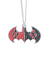 DC Comics Harley Quinn Necklace Batman Bling Logo Punk Gothic Rhinestone NWT