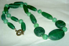 Vintage Unusual MONET Marblized Green + Peking Glass Chunky Bead Toggle Necklace