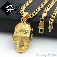 """20""""MEN's Stainless Steel 4.5mm Gold Cuban Curb Chain Necklace Skull Pendant*GP84"""