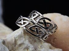 Solid Sterling Silver His and Hers Matching Celtic Band Ring Wedding Size N & S