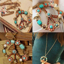 Pendant Crystal Sign Long Chain Jewelry Gift Bronze Peace Necklace Vintage