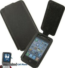 NEW LIMITED LUXURY BLACK LEATHER FLIP CASE COVER FOR APPLE iPHONE 4S 4 4G