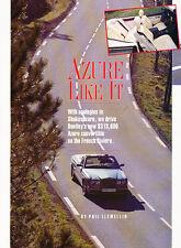 1995 Bentley Azure Convertible Original Car Review Print Article J511