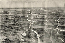 Bowling Green Kentucky KY, Hot Air Balloon View of Military Defenses 1862 Print