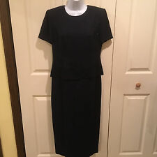 VINTAGE  **R&M RICHARDS BY KAREN KWONG** Navy Blue SS Tiered Overlay Dress 4P