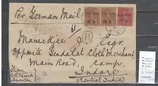 Canton bureau français - lettre pour Indore en Inde - Recommandée 1910