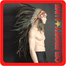 New 91cm Native Indian Chief Black Cock Feather Headdress Fancy Dress Costume