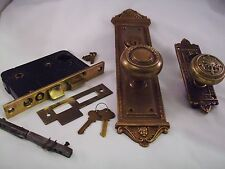 Antique Sargent Cast Bronze Door Knob Entrance Set Cylinder Thumb Turn #661