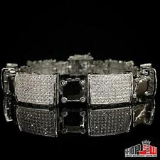 Mens 14k White Gold Plated Similated Diamond Bracelet Iced Out Hip Hop Style New