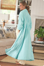 Soft Surroundings Blue Lagoon Classic Ribbed Chenille Cozy Wrap Robe XS 0/2 $89