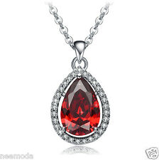 Mothers Day Gifts NEEMODA Red Cubic Zirconia Pendant Necklace White Gold Plated