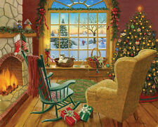 White Mountain Puzzles Cozy Christmas Cat - 1000 Piece Jigsaw Puzzle