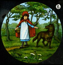 LITTLE RED RIDING HOOD  No 6 HAND COLOURED Magic Lantern Slide [351]