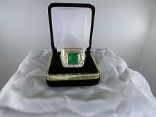 Mens Large World Class Top Gem 8.0ctw Emerald Diamond 18K Solid Gold Ring Size12