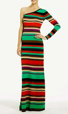 "$298 BCBG KHAKI MULTICOLOR ""ANADIA"" ONE SHOULDER JERSEY KNIT LONG DRESS NWT XS"