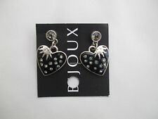 Black Enamel Heart Shape Drop Earrings Silver Frosting, Silver Sun New