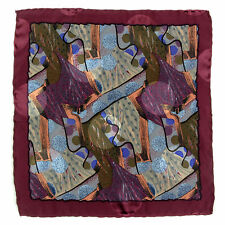 SANTOSTEFANO Handmade Burgundy Tan Blue Silk Pocket Square Handkerchief $150