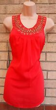 ET VOUS ORANGE BEADED GOLD STUDS BAGGY BLOUSE TOP T SHIRT TUNIC VEST 10 S