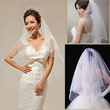 Graceful White Ivory Pearl Satin Edge Double Layers 2 Tiers Bridal Wedding Veils
