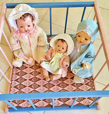 "1940's Effanbee Dy Dee baby doll pink blue wood play yard playpen large 19""x19"""
