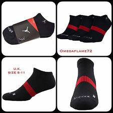 Nike Jordan Crew Sport Trainer Socks UK 8-11, EU 42-46 Black X 3-pairs SX5243-01