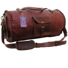 "21""x11x11 Mens Vtg Genuine Leather Carry On Weekender Gym Duffle Shoulder Bag"