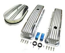 "58-86 Chevy Polished Aluminum Finned Valve Covers & 15"" Air Cleaner Kit SBC 350"