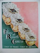 PUBLICITE DE PRESSE CARON PARFUM FLEURS DE ROCAILLE FLACONS FRENCH AD 1960